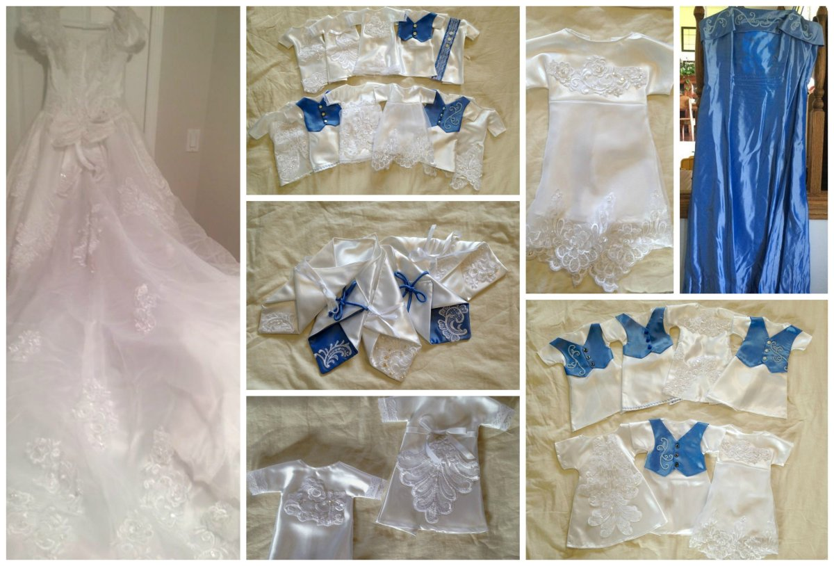 Blue Gown : Bev Turchak Seamstress: Torrie Gass Wedding Gown Donation :wishes to remain Anonymous